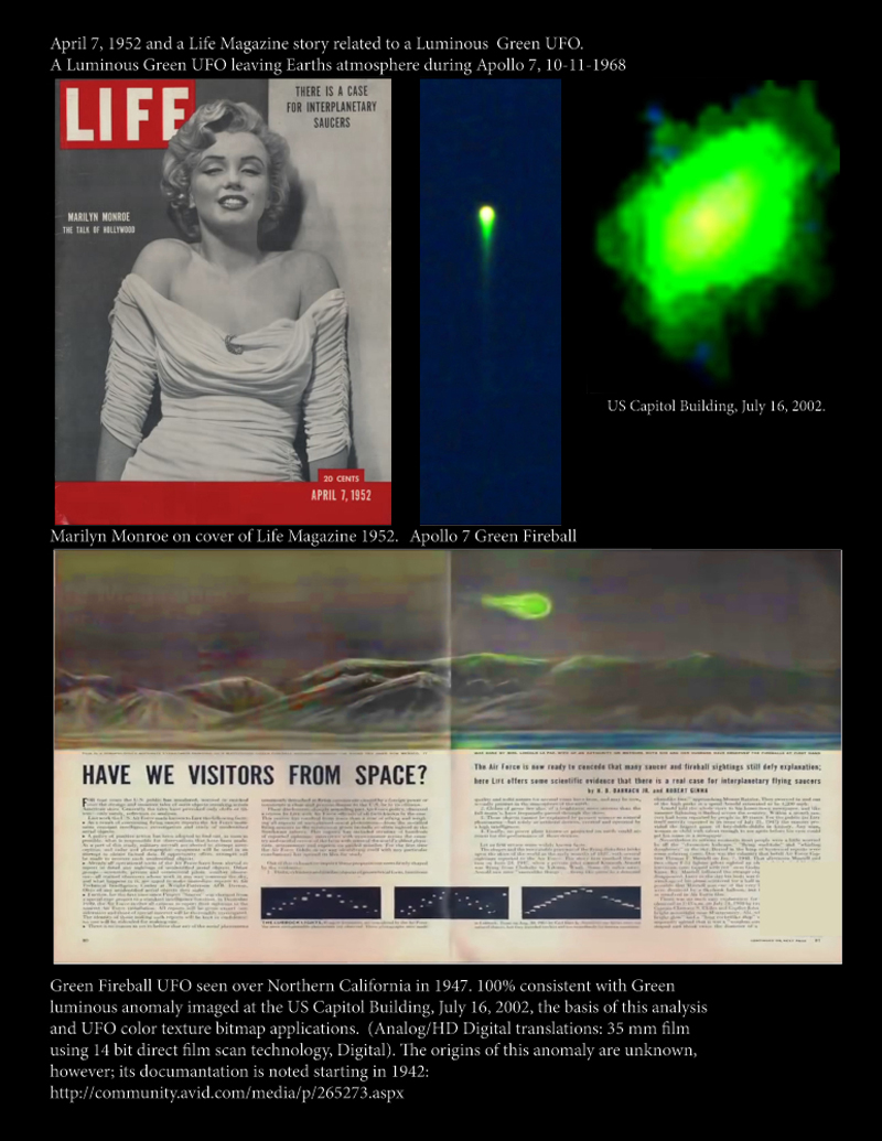 1952 Green Sphere UFO and Marylin Monroe