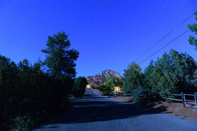 Sedona Arizona in the dark of night, 04:34 AM