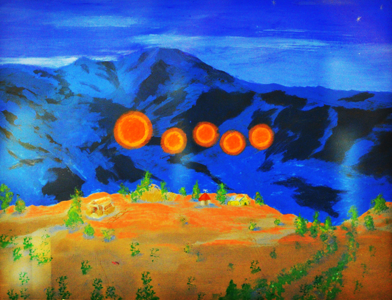 Sedona Arizona 1950 painting of Orange spheres that were encountered by the arrtist