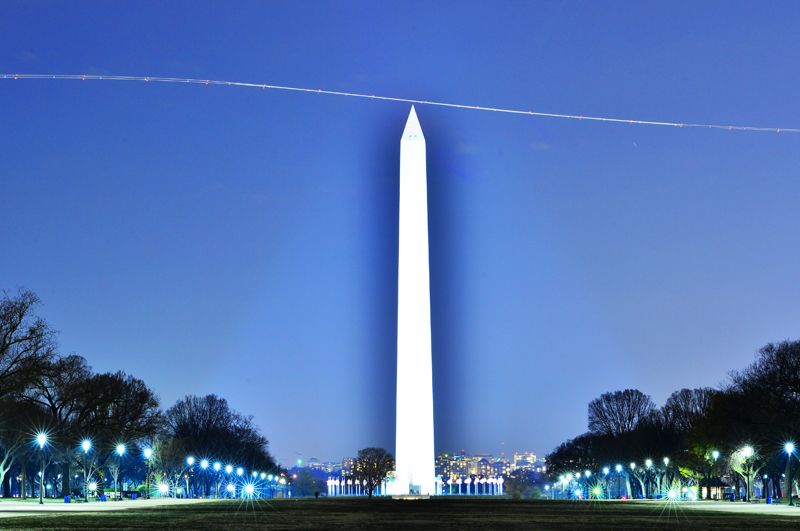 Washington Monument scan showing flight trajectory of aircraft on takeoff vector from Reagan National Airport, Washington DC 11-30-2012